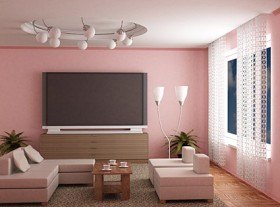 Pale pink stylish living room Images