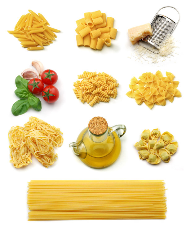 Pasta and vegetables and high definition picture