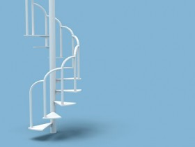 The white minimalist stairs boutique picture material