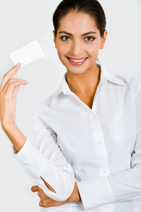 Character holding a blank business card HD picture  4