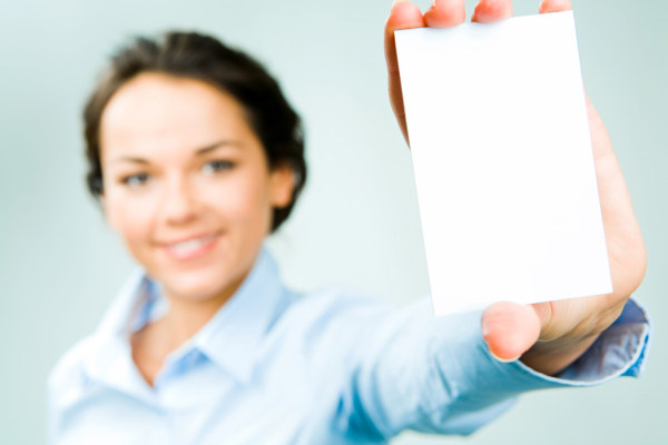 Character holding a blank business card HD pictures