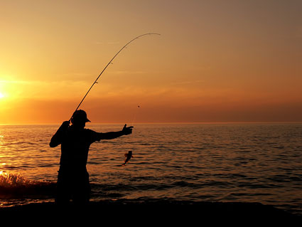 Fishing silhouette picture material