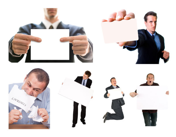 HD picture of business people holding a blank paper jam