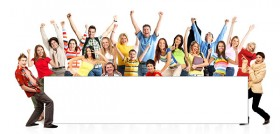 Happy young people with blank billboard picture material