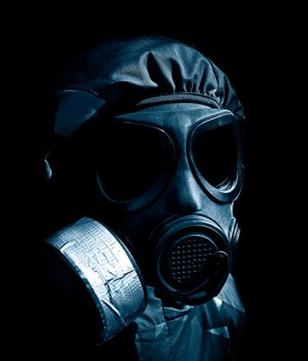 Images  3 figure wearing a gas mask