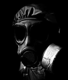 Images  4 figure wearing a gas mask