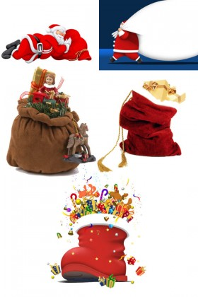 Santa Claus and gift bags   HD Pictures