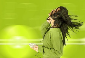 Woman listening to music picture material  2