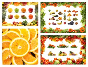 Fruits and vegetables set of high definition pictures
