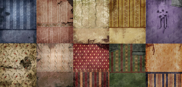 Old and dilapidated the European wallpaper walls of picture material  2