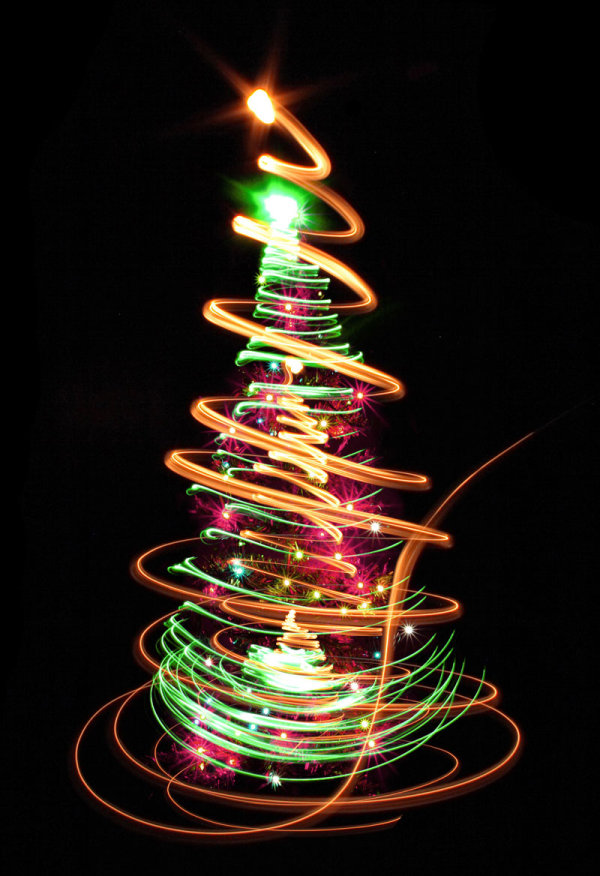Bright halos Christmas tree 03   HD Pictures