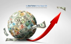 A creative business currency globes text background layered material