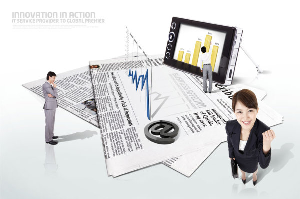 Business persons data chart PSD layered material  2