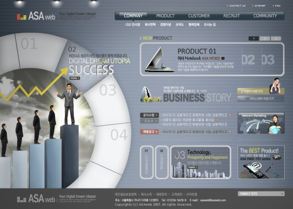 The foreign financial website template psd layered material