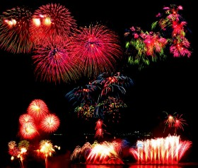 Bright holiday fireworks psd material
