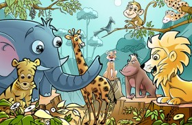 Cartoon forest animals psd layered material