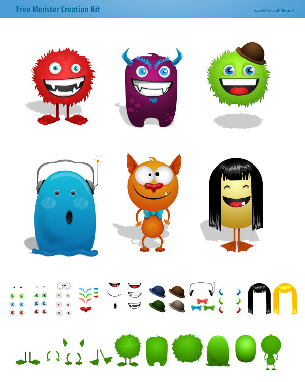 Cartoon monster authoring tool package psd layered material