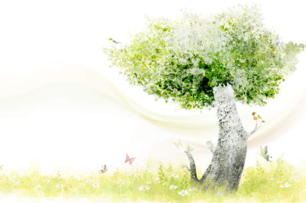 Clear style of hand painted green Trees PSD layered images
