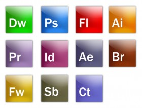 Complete Adobe software icon PSD layered file