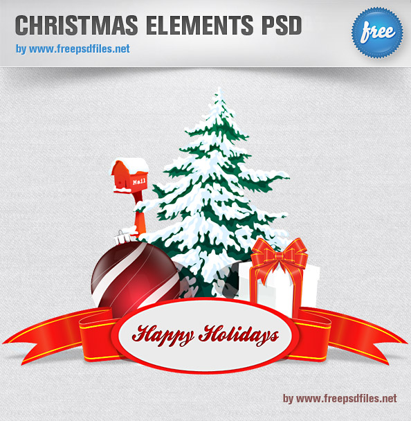 Exquisite Christmas card psd layered material