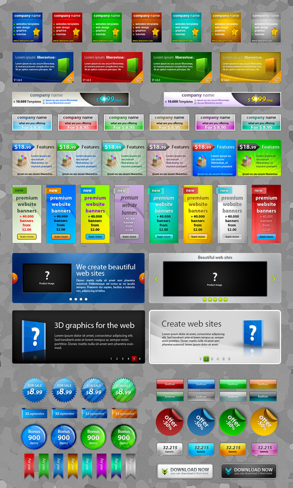 Exquisite web2.0 web design elements psd layered material