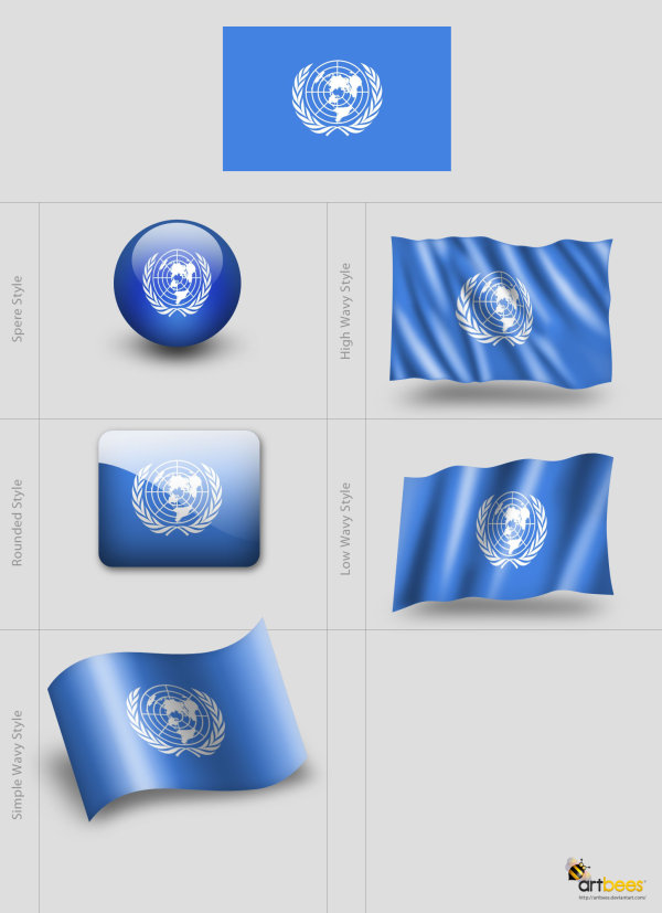 Flag template psd layered material of various styles
