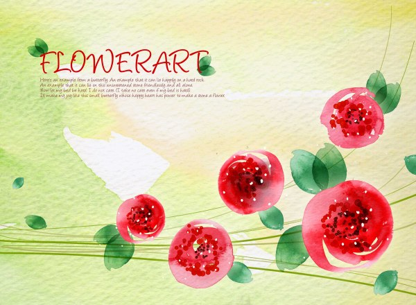 Flower Art the watercolor pattern background PSD layered  2
