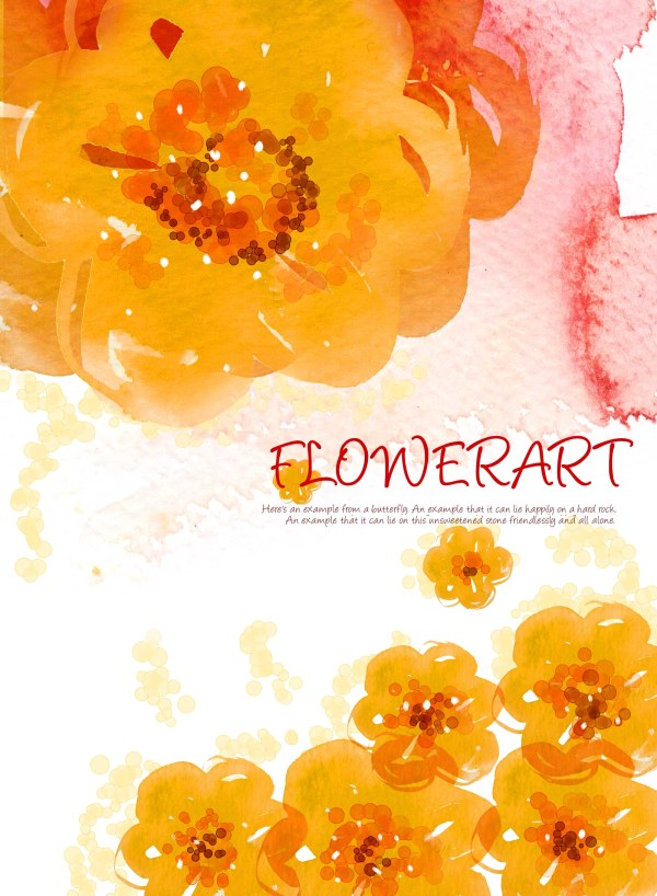 Flower Art the watercolor pattern background PSD layered  3