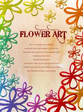 Flower Art the watercolor pattern background PSD layered  4