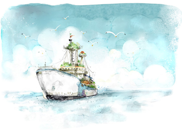 Fresh style of hand painted ship PSD layered pictures