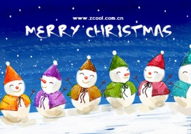 Hand painted Christmas posters psd layered material  2