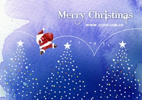 Hand painted Christmas posters psd layered material  3