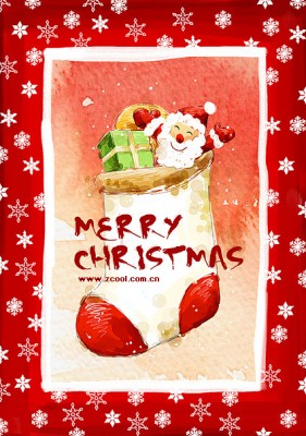 Hand painted Christmas posters psd layered material  6