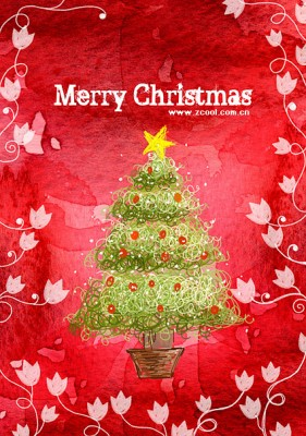 Hand painted Christmas posters psd layered material  7