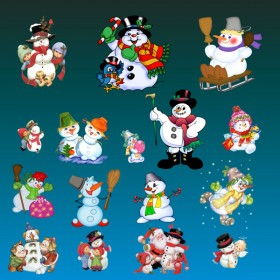 Lovely Christmas snowman set psd layered material