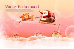 Pink hand painted Christmas posters psd layered material