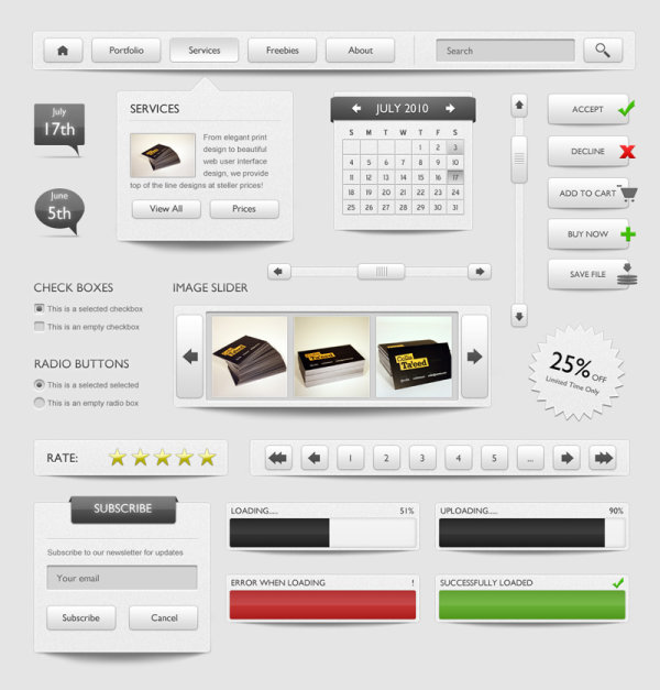 Refined and practical web elements 03   Psd layered material
