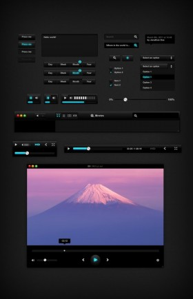 The black theme video player psd layered material