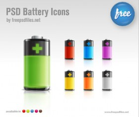 The crystal texture battery icon psd layered material