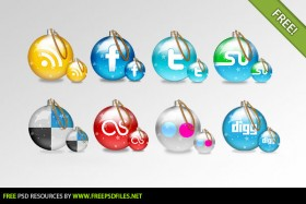 The exquisite Christmas ball icon psd layered material