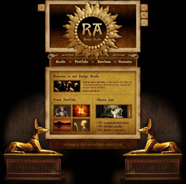The the Egyptian style website template