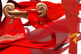 Variety of red cloth fluttering layered material