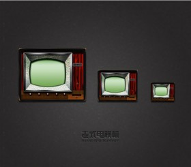 Vintage TV icon psd layered material