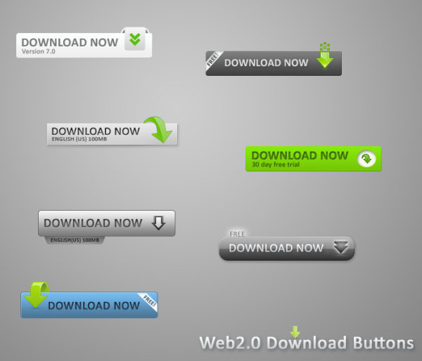 Web2.0 page download button PSD material