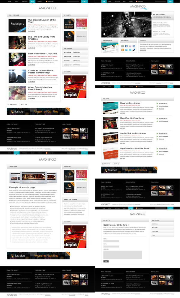 Whole set of practical web page template   Psd layered material