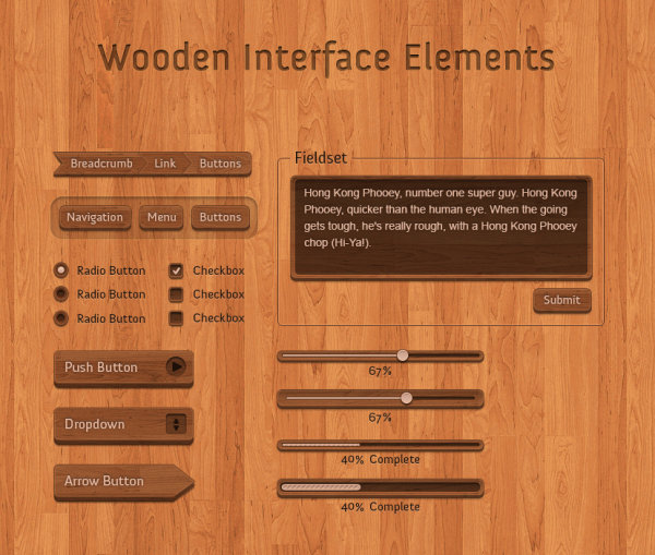 Wood grain button PSD layered material