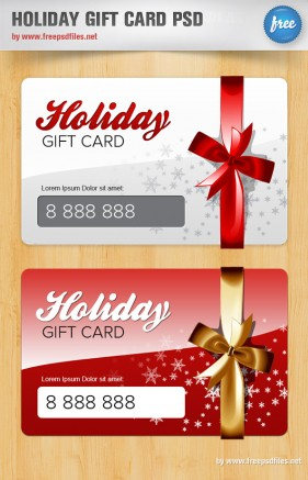 Beautiful holiday gift card psd layered material