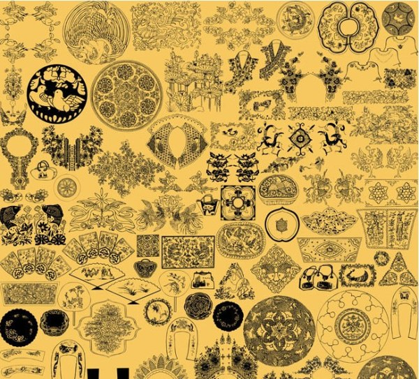 Embroidery Chinese painting line drawing pattern psd material