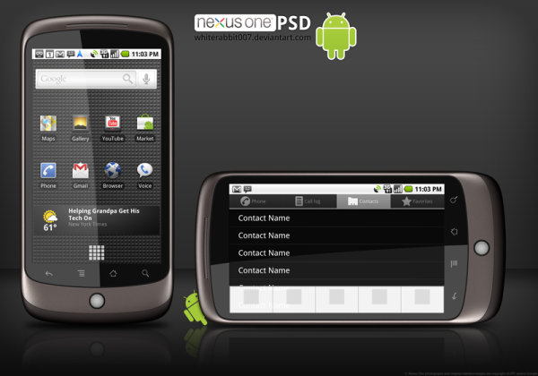 Google Nexus One phone hierarchical template material pictures