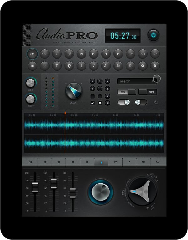 Ipad music application software interface design PSD layered (a)